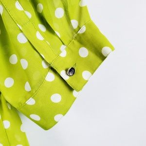 Lane Bryant Tops - Lane Bryant | Green White Polka Dot Top 18/20